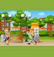 happy boys playing on the city park vector image