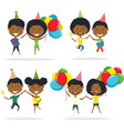 jumping cute african-american couples carrying vector image vector image