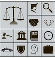 Law Justice Police Icons and Symbols Silhouette on vector image