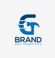 letter g hammer logo flat design vector image vector image