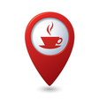 map pointer with hot coffee cup icon vector image