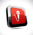 Mic 3d square button vector image vector image