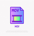 mov file format thin line icon modern vector image vector image