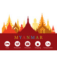 myanmar landmarks skyline with accommodation icons vector image vector image