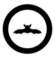 night bat black icon in circle vector image vector image