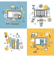 Online education thin outline icons set of vector image