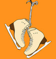pair of yellow leather female skates for figure vector image vector image