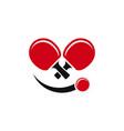 ping pong face logo creative concept vector image vector image