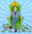 pop art successful businessman sitting on throne vector image vector image