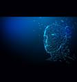 realistic 3d man head polygonal skin background vector image vector image