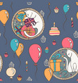 seamless pattern with cats and birthday vector image vector image