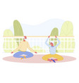 senior married couple doing yoga at home terrace vector image vector image