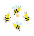 set funny cartoon bees vector image