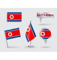 Set of North Korean pin icon and map pointer vector image