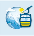 ski lift paper cut banner vector image