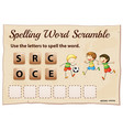 spelling word scramble game with word soccer vector image vector image