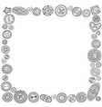 square frame with cloth buttons in boho style vector image