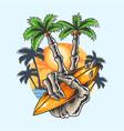 summer design hand skull coconut tree finger vector image vector image