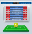 tennis match statistics vector image vector image