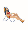 the girl is lying on a lounger fashion swimsuit vector image
