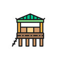 traditional beach house on water bungalow flat vector image