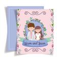 wedding couple flower foliage floral decoration vector image vector image