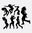 Woman dancing freestyle silhouette vector image vector image