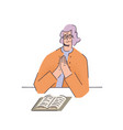 woman praying over a book in flat style vector image
