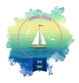 Yacht Sea Landscape Watercolor vector image