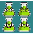 Cartoon Test Tubes with Eyeglasses vector image