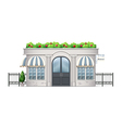 A commercial building with plants at the rooftop vector image vector image