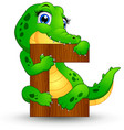 alphabet c with crocodile cartoon vector image vector image