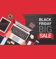 black friday big sale banner design with man hands vector image