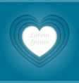 blue heart in multiple levels in paper style with vector image vector image
