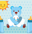 blue toy bear hugs cloud cartoon bottles dotted vector image