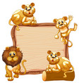 border template design with cute lion family vector image vector image