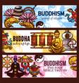 buddhism religion symbols sketch vector image