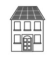 building with panel solar silhouette isolated icon vector image