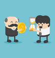 businessmen exchange money with time vector image vector image