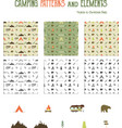 Camping patterns and hiking elements set - tent vector image