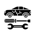 car service icon black sign vector image vector image