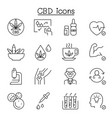 cbd cannabis marijuana icon set in thin line style vector image