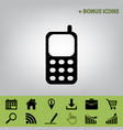 cell phone sign black icon at gray vector image vector image