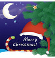 christmas card with a snowy night background vector image vector image