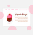 cupcake recipe banner landing page template with vector image vector image