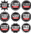 Cyber monday sale black signs set vector image vector image