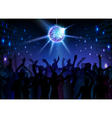 Disco ball background Dancing people vector image vector image