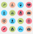drug icons set collection of tent heal chest vector image vector image