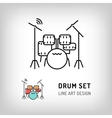 Drum set isolated line art icon Music instrument vector image vector image
