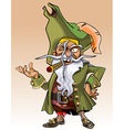 dwarf cartoon character pirate with a cigar vector image